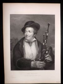 After David Wilkie C1870 Antique Print. The Bagpiper. Music